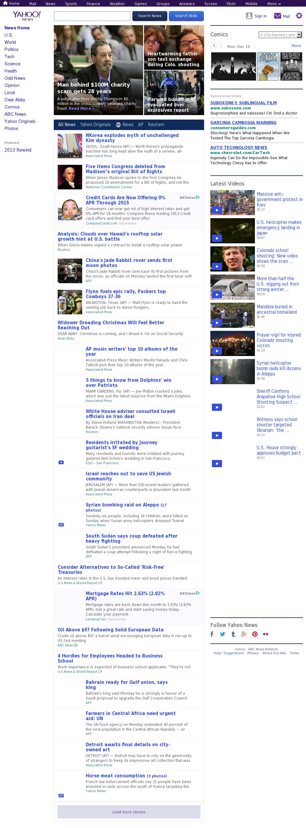 Yahoo! News at Monday Dec. 16, 2013, 5:18 p.m. UTC