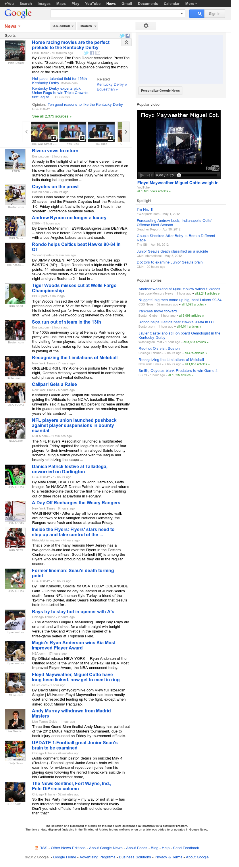 Google News: Sports at Saturday May 5, 2012, 11:06 a.m. UTC