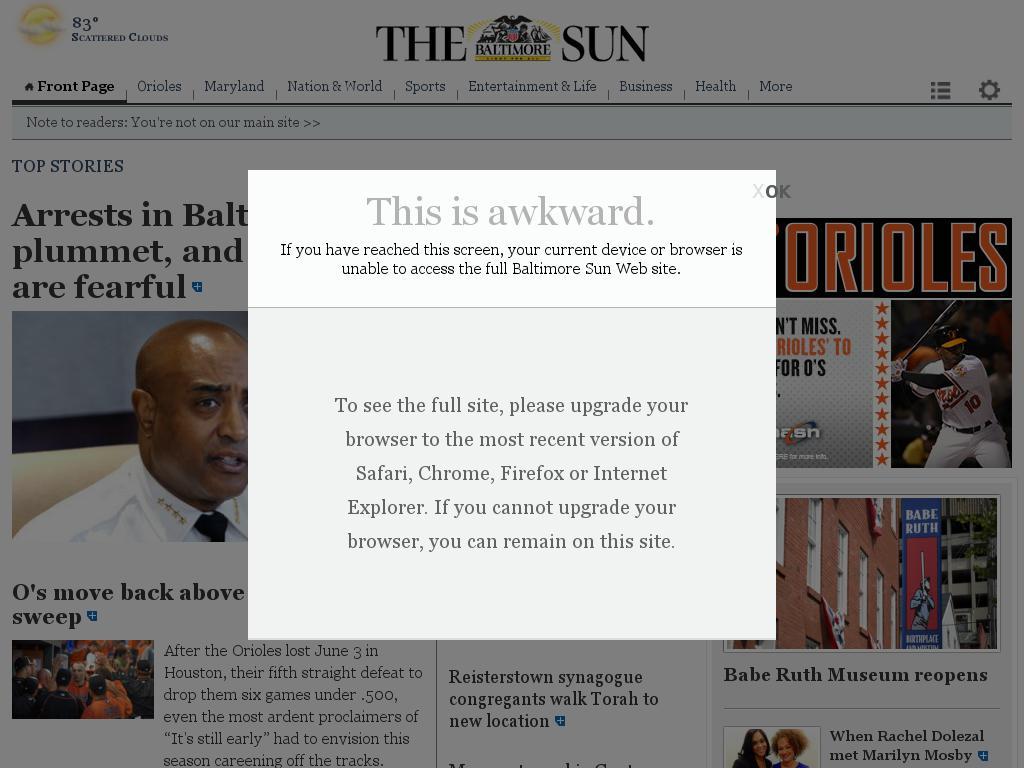 The Baltimore Sun at Sunday June 14, 2015, 2 p.m. UTC