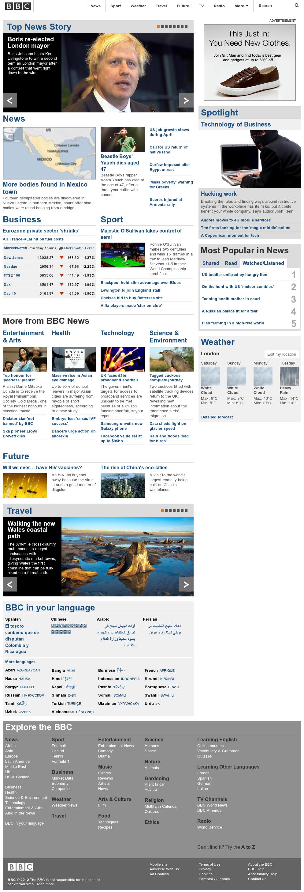 BBC at Saturday May 5, 2012, 4 a.m. UTC