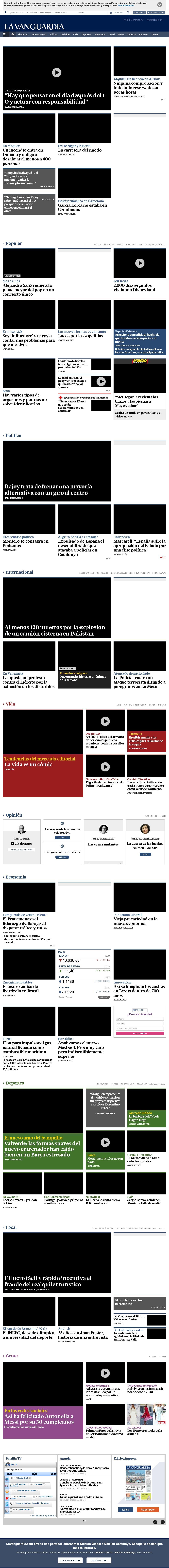 La Vanguardia at Sunday June 25, 2017, 8:20 a.m. UTC
