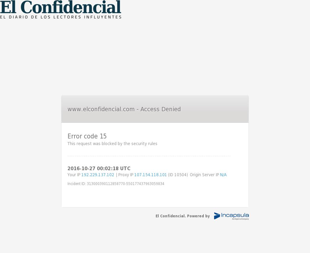 El Confidencial at Thursday Oct. 27, 2016, 12:03 a.m. UTC