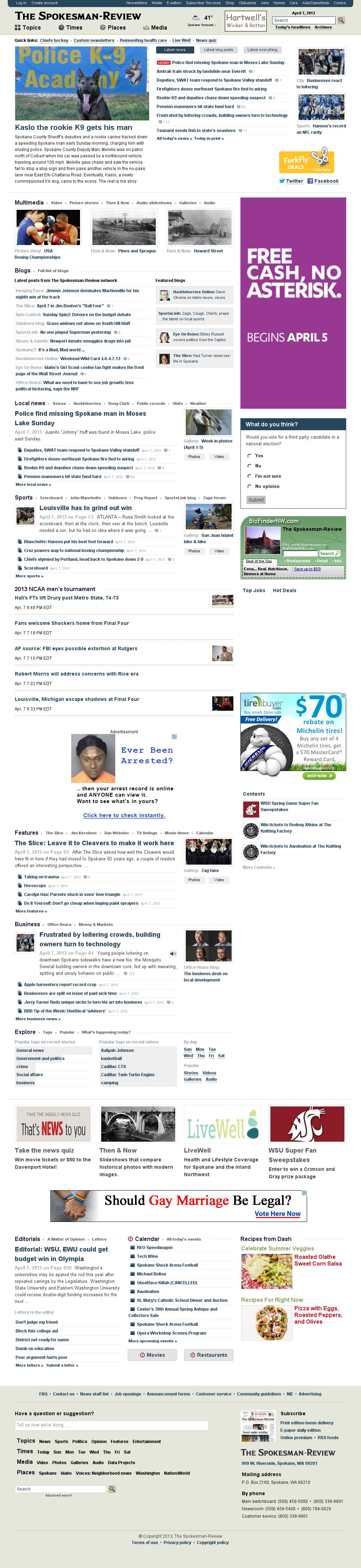 The (Spokane) Spokesman-Review at Monday April 8, 2013, 4:21 a.m. UTC