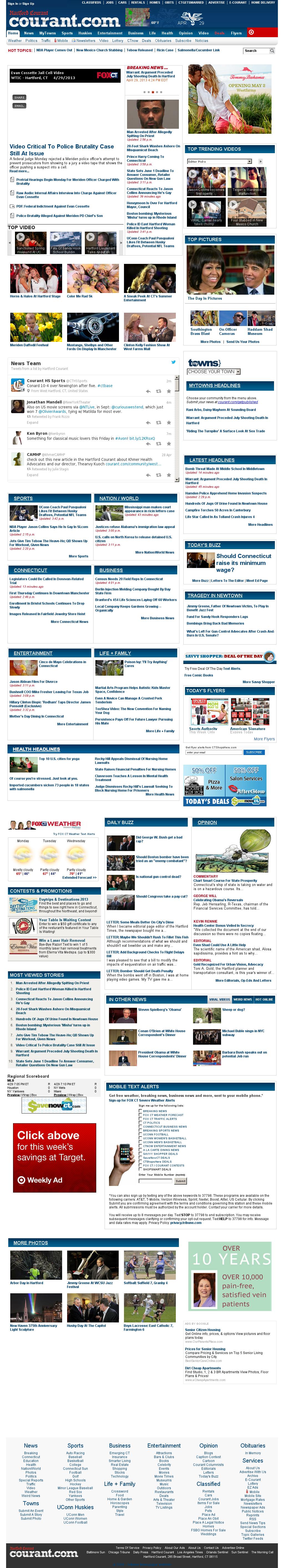 Hartford Courant at Monday April 29, 2013, 9:08 p.m. UTC