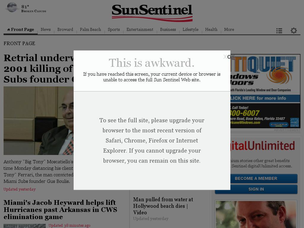 (Florida) Sun Sentinel at Tuesday June 16, 2015, 3:30 a.m. UTC