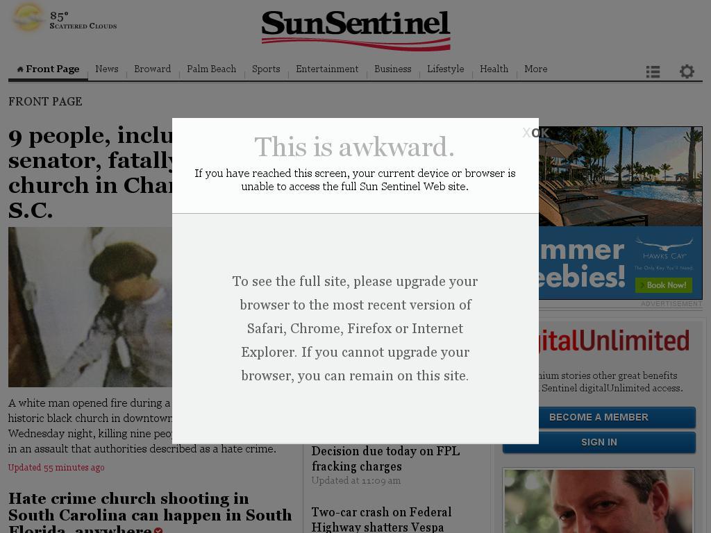 (Florida) Sun Sentinel at Thursday June 18, 2015, 1:29 p.m. UTC