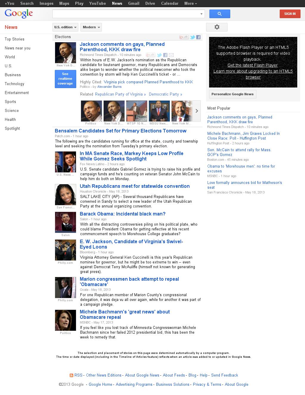 Google News: Elections at Monday May 20, 2013, 6:07 p.m. UTC