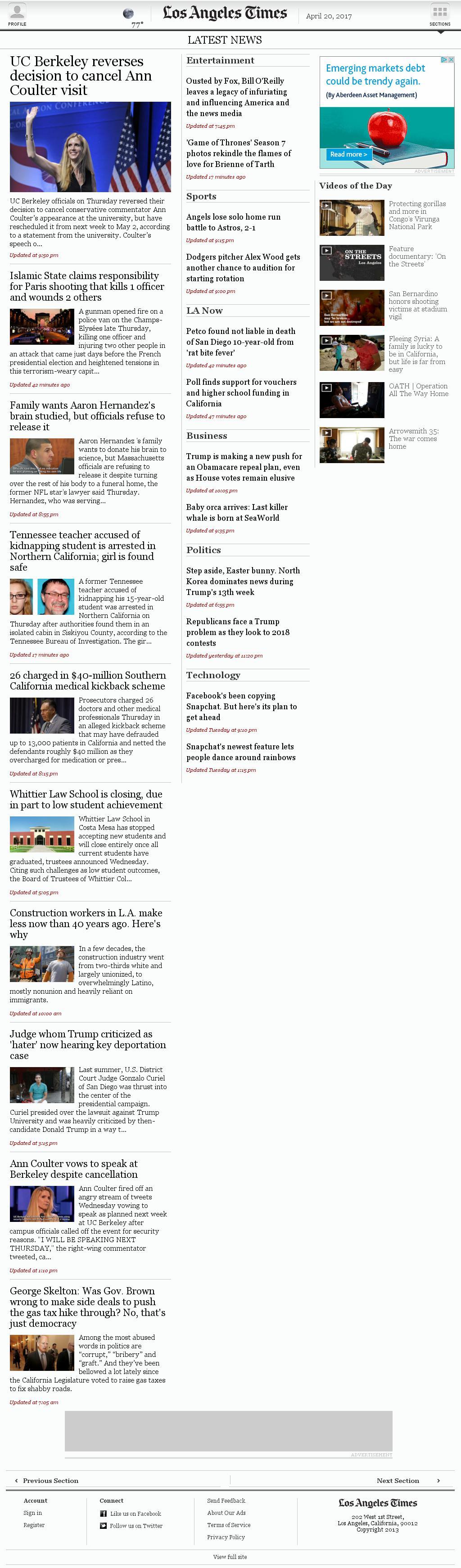 Los Angeles Times at Thursday April 20, 2017, 11:12 p.m. UTC
