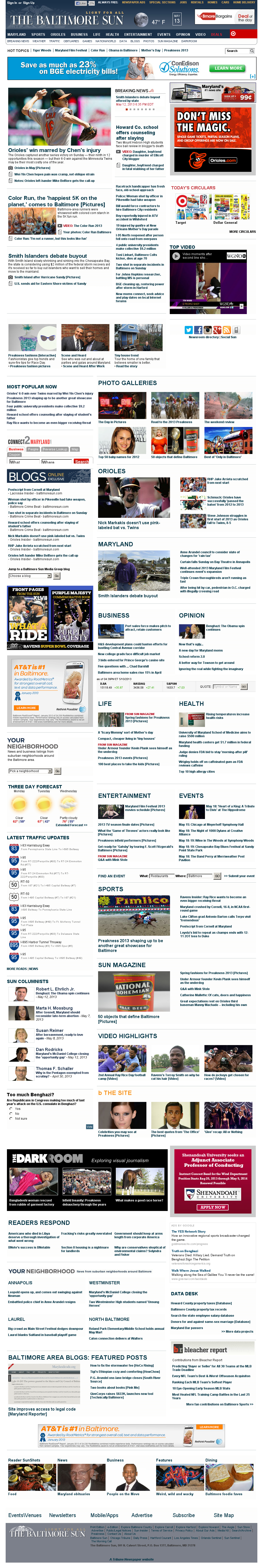 The Baltimore Sun at Monday May 13, 2013, 6:01 a.m. UTC