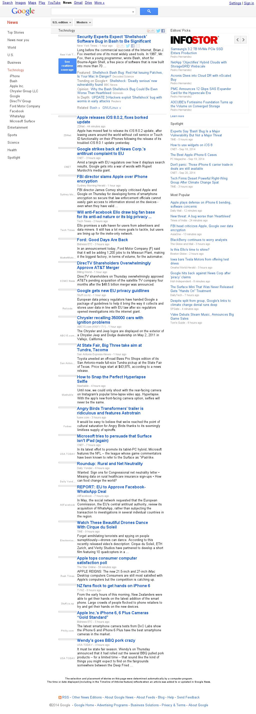Google News: Technology at Friday Sept. 26, 2014, 2:09 a.m. UTC